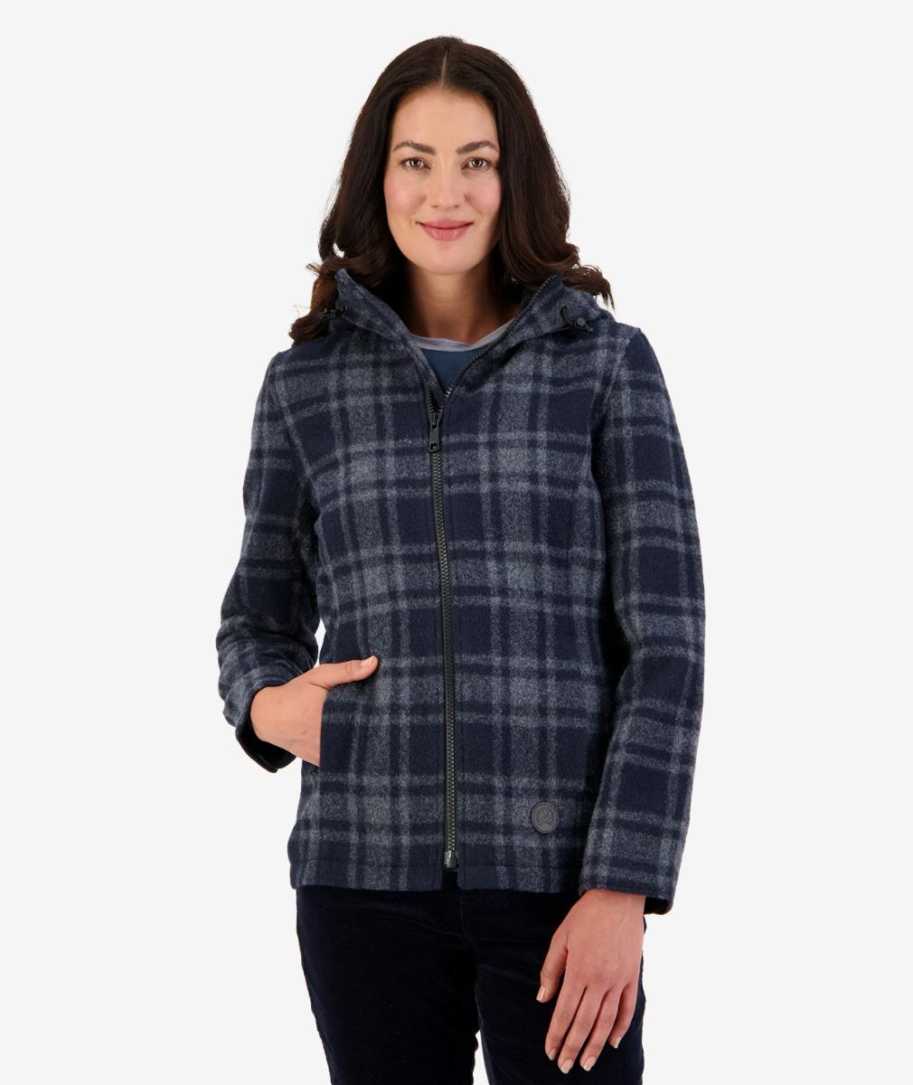 Seattle Women's Wool Hoody Charcoal Grid Check