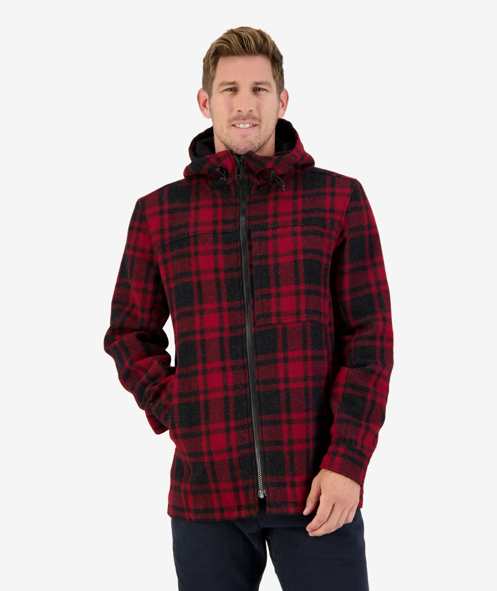 Swanndri Men's Hudson Wool Hoody in Oxblood Grid