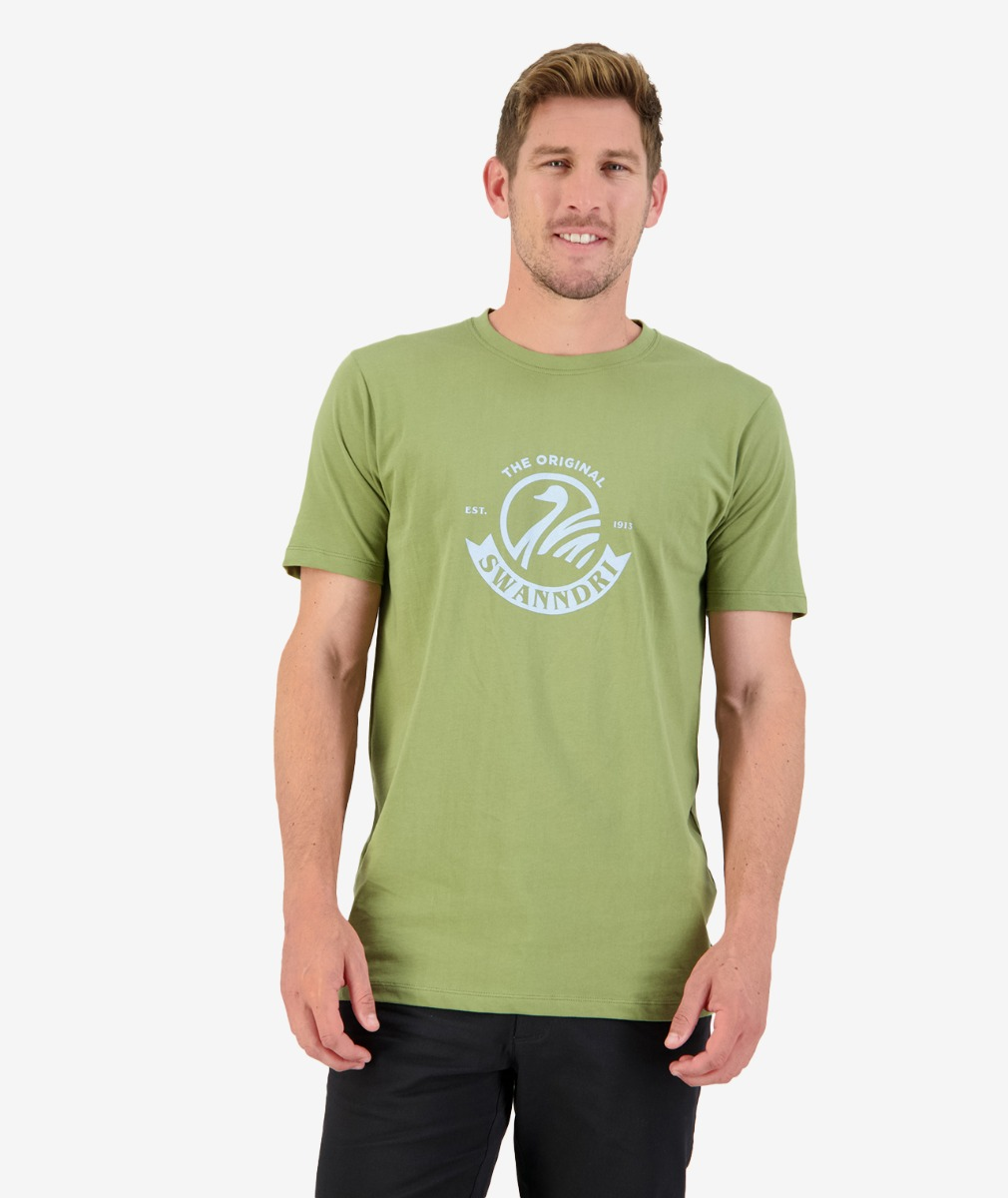 Original Printed Tee in Olive/Light Blue
