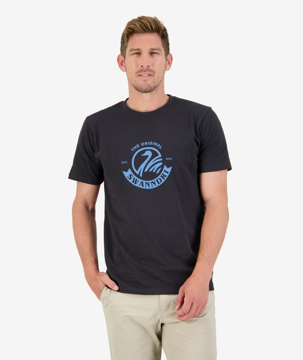 Original Printed Tee in Washed Black/Blue