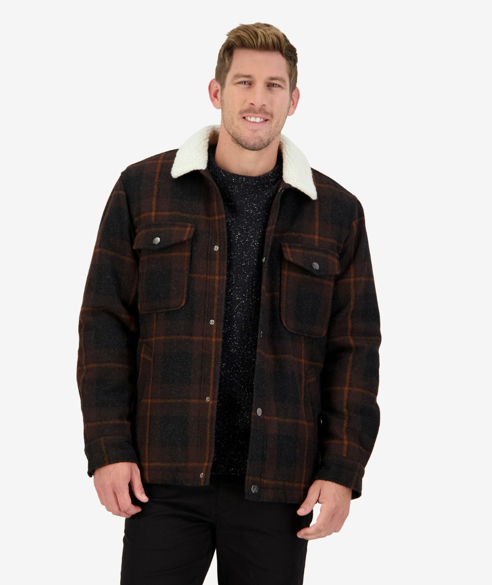 Swanndri Men's Kaituna Sherpa Lined Jacket in Double Brown Check