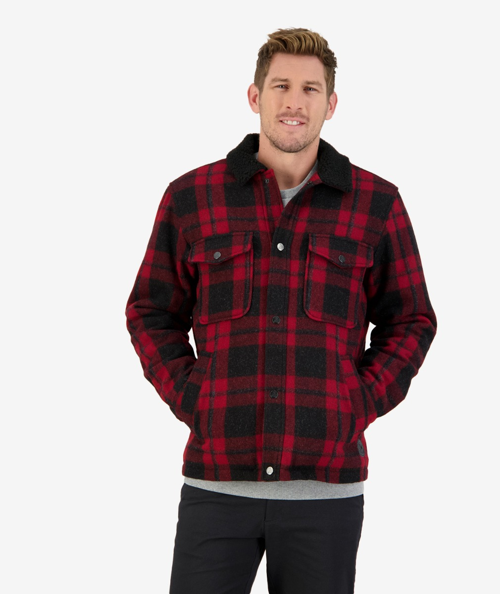 Swanndri Men's Kaituna Sherpa Lined Jacket in Merlot Check