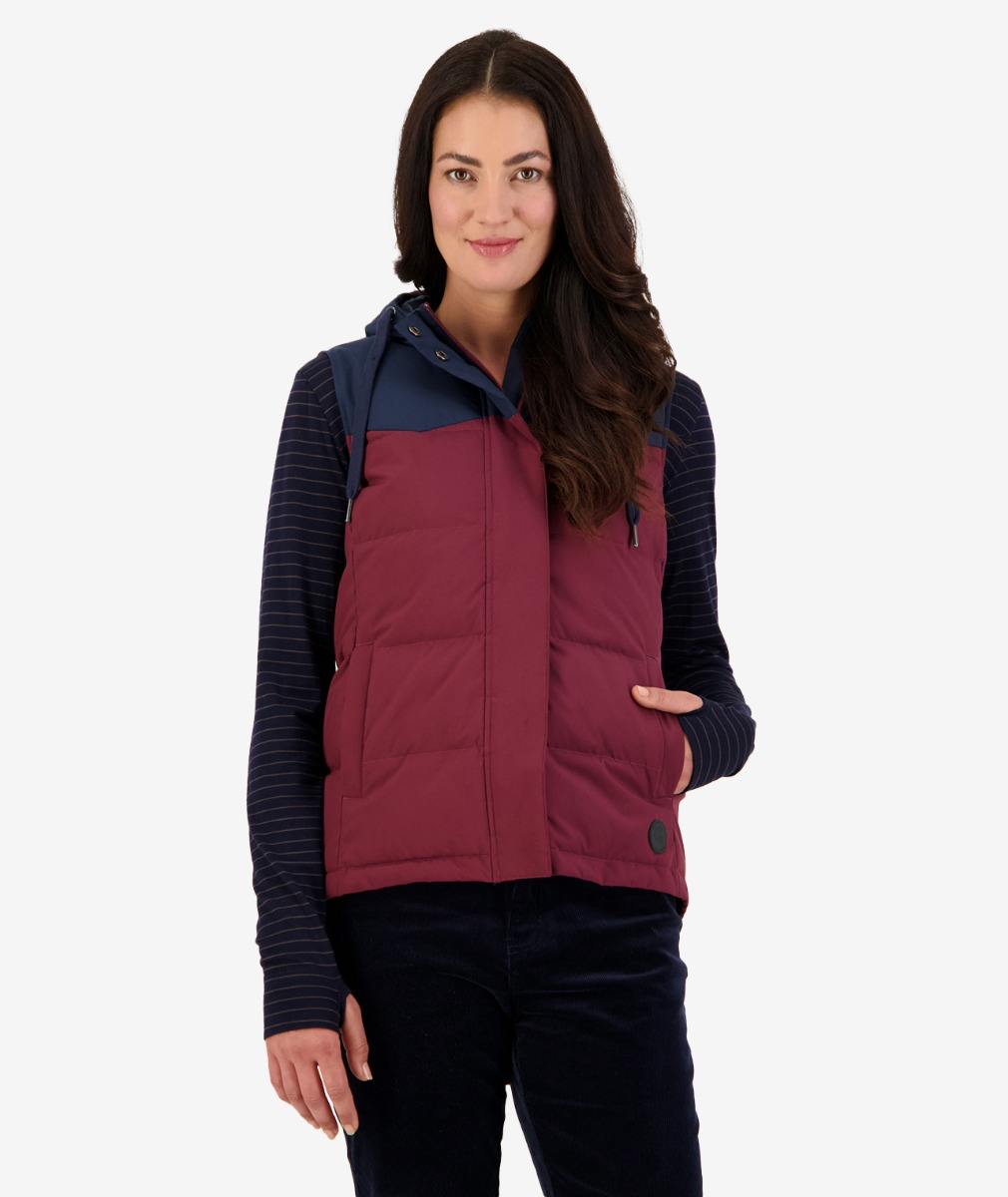 Lakefront Hooded Insulated Vest Navy and Plum
