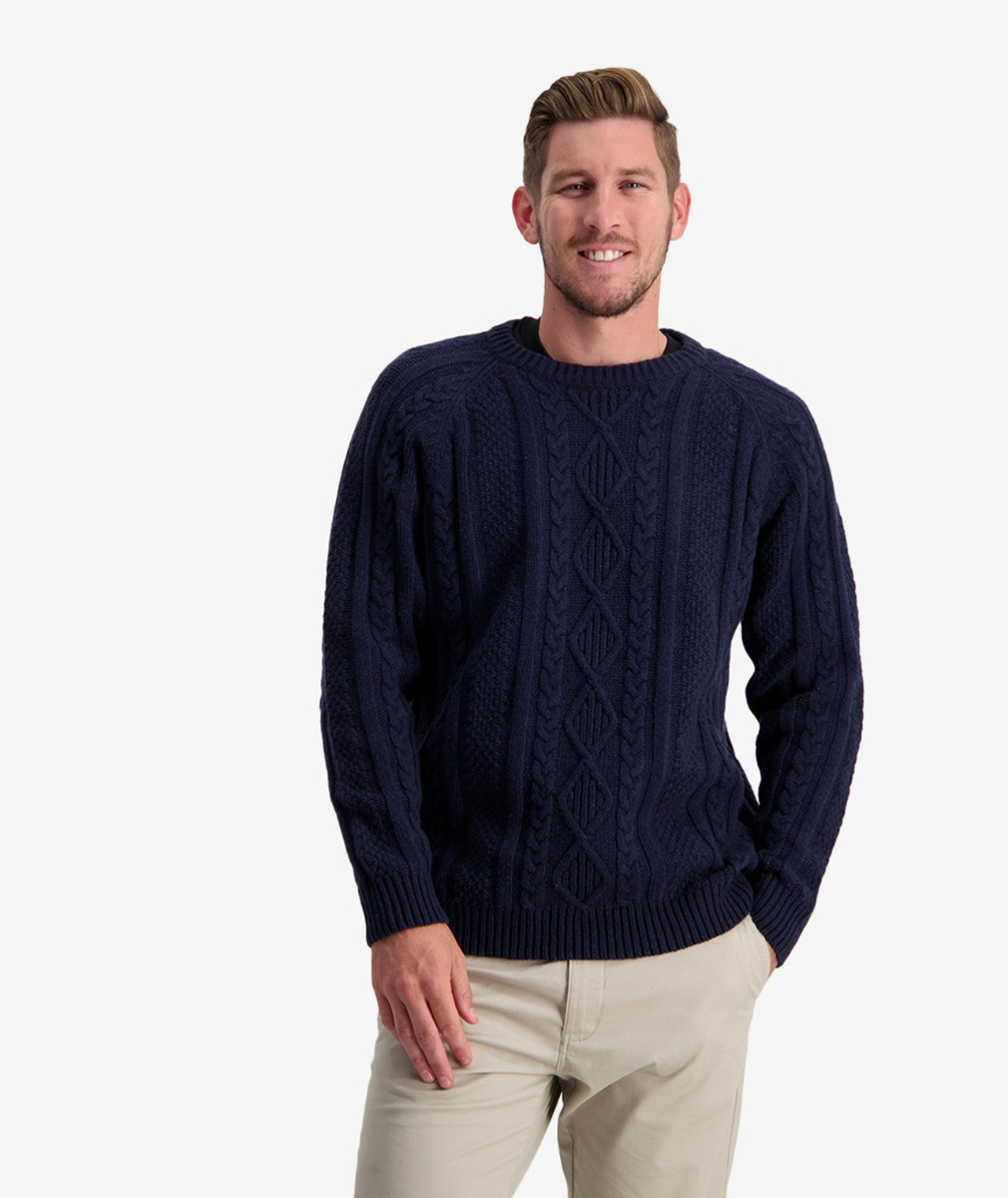 Swanndri Men's Back Beach Cable Crew Jumper in Navy
