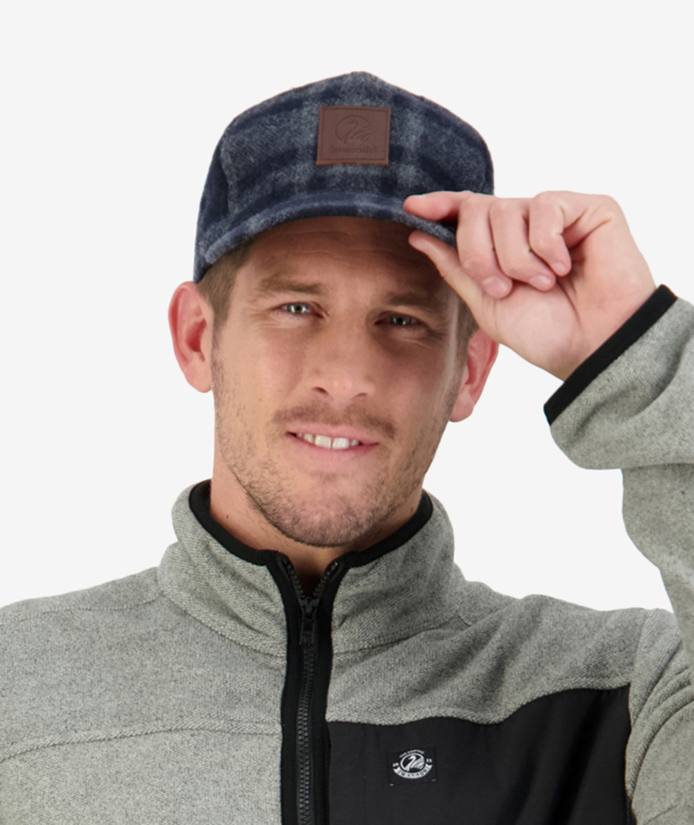 Wentworth Valley Wool Cap in Charcoal Grid