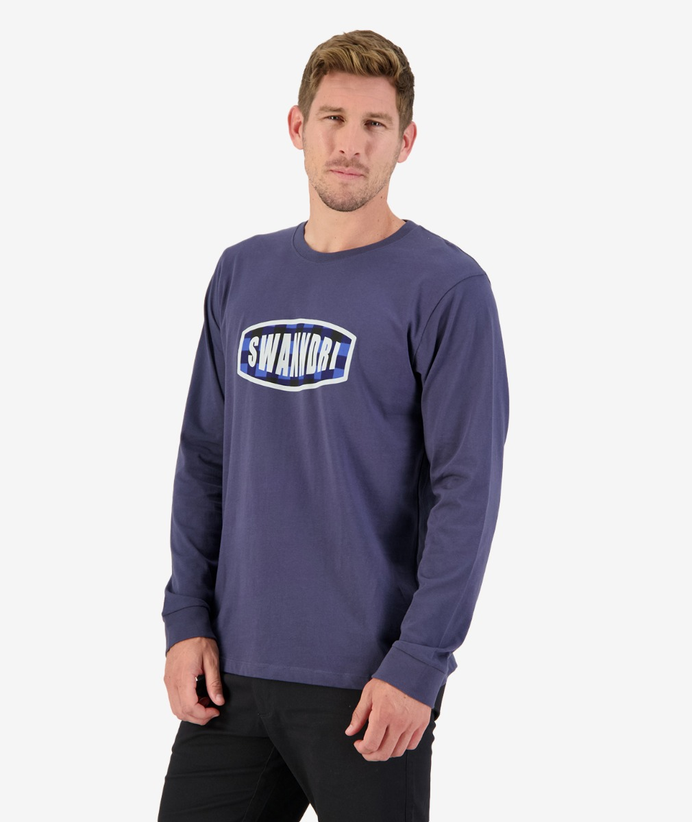 Swanndri Men's Checkbox Long Sleeve Print T Shirt in Steel Blue