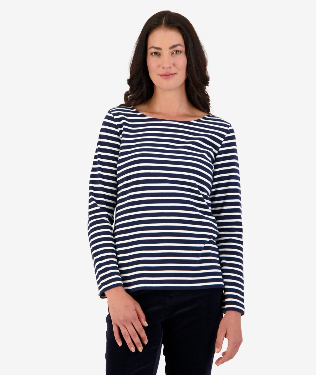 Coniston L/S Breton Top in Navy/White