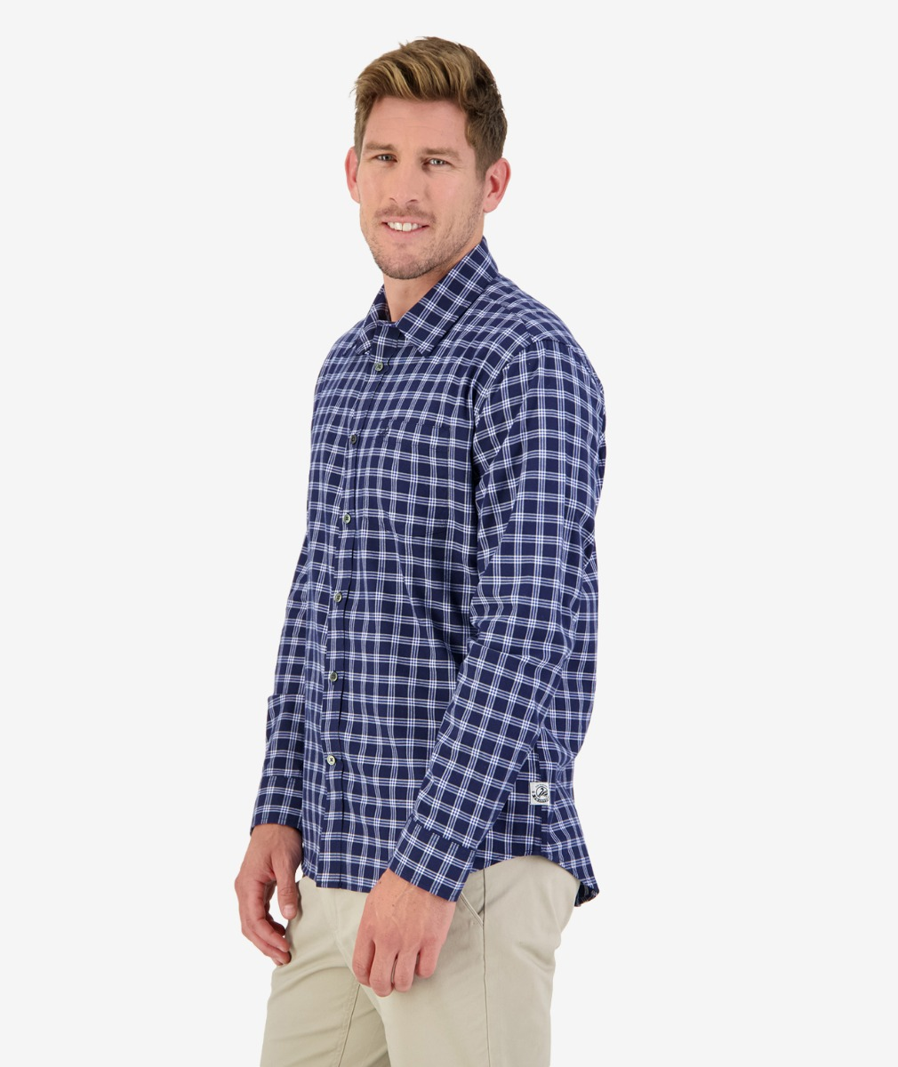 Harrington Point Long Sleeve Shirt in Navy