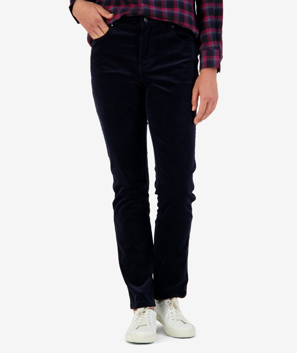 Penrith straight leg cord pants in navy front view