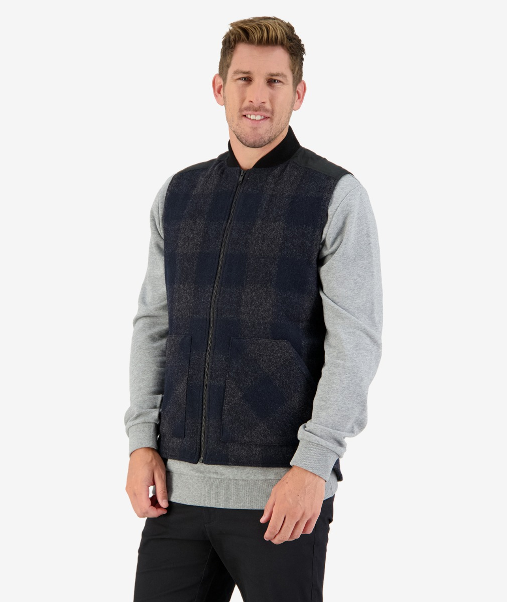 West Melton wool Vest in Graphite Check