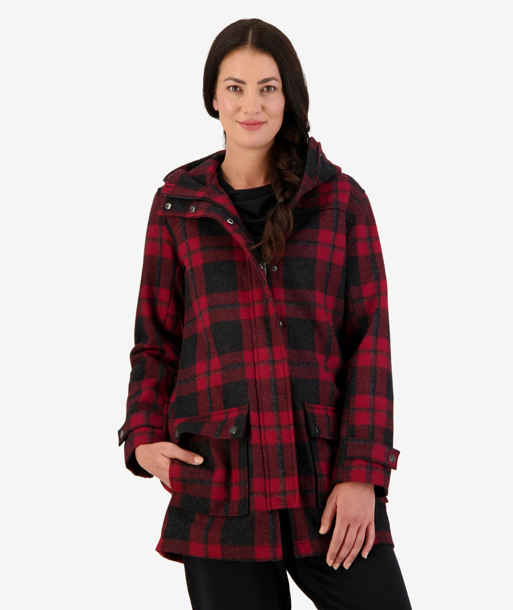 Annmore Wool-Blend Overcoat Merlot Check