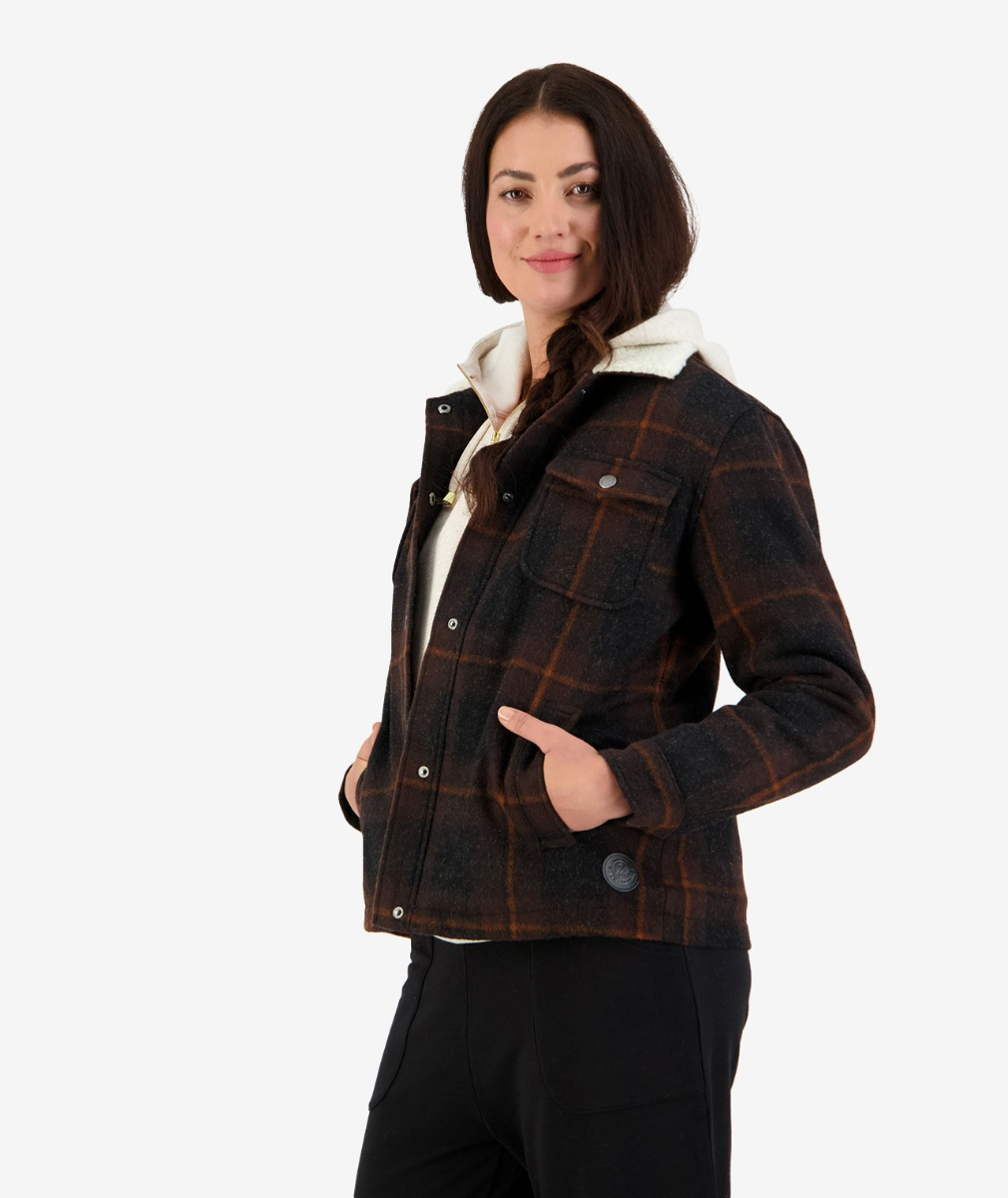 Women's Merino and wool jacket in double brown check