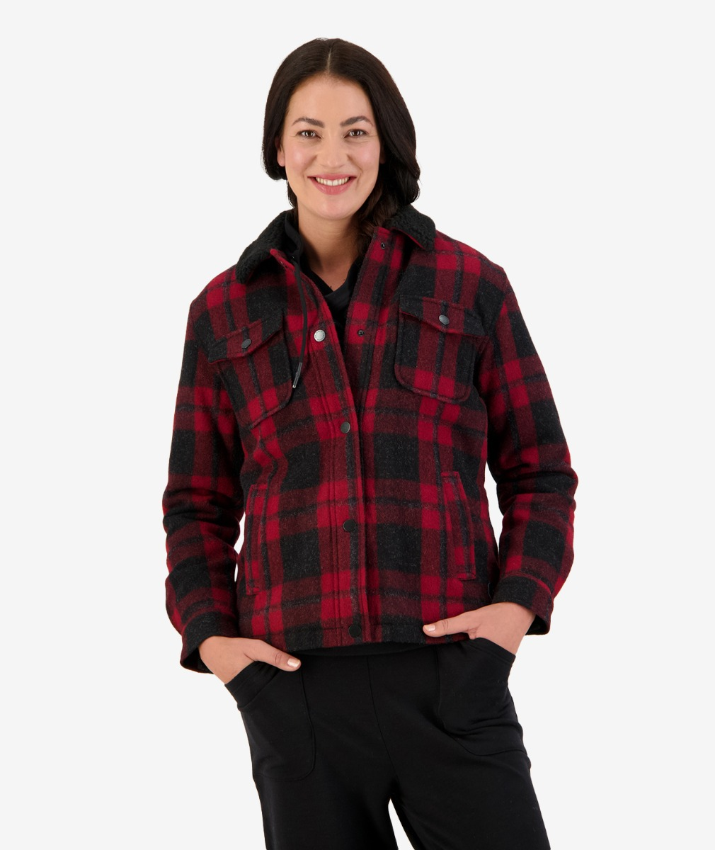 Kaituna Women's Sherpa Lined Jacket in Merlot Check