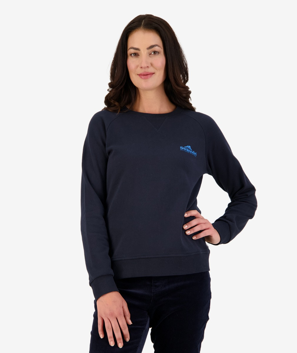 Swanndri Women's Rusland Brushed Back Crew in Navy