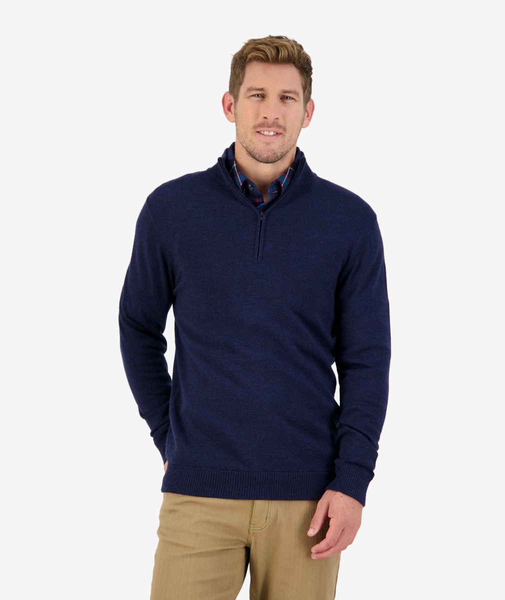 Magnet Bay 1/4 Zip Merino Jumper in Ink