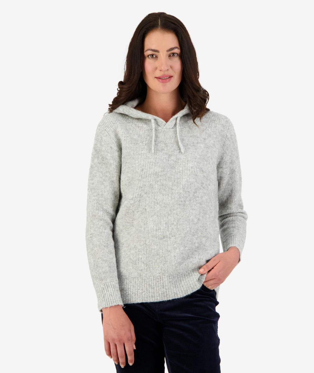 Kendal Waffle Knit Hoody in Grey Marle