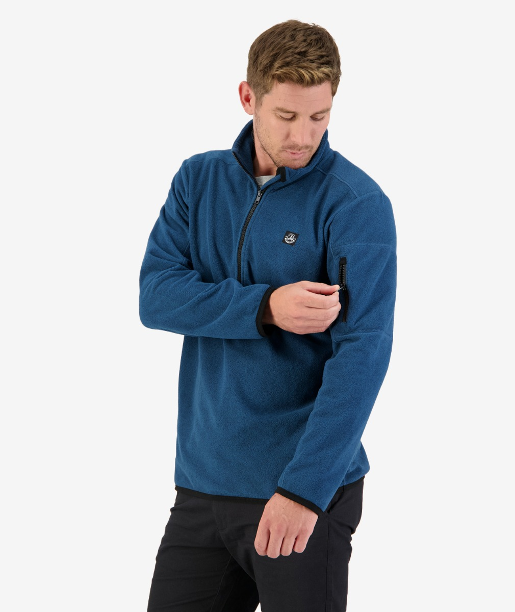 Ferrymead Zip Neck Jumper in Blue