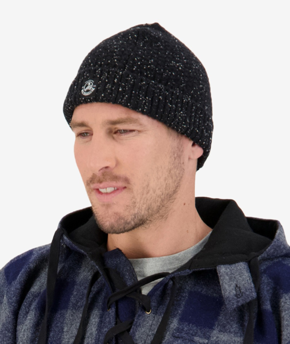 South Rd Waffle Beanie in Black